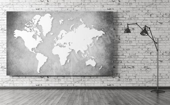 Cuadro mapa en blanco y negro