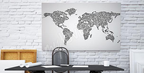 Cuadro mapamundi blanco y negro