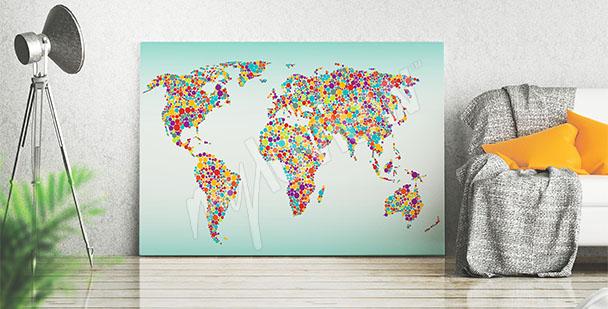 Cuadro mapamundi colorido