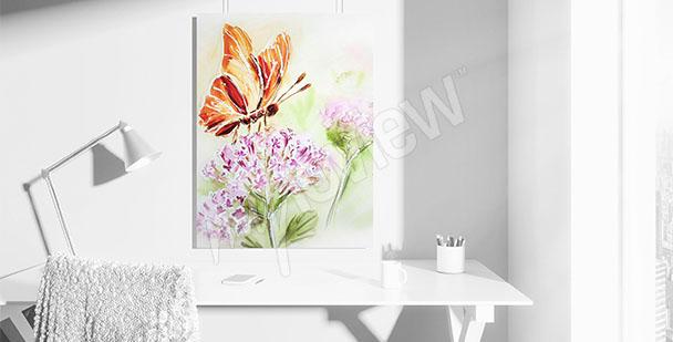Cuadro mariposa en una flor