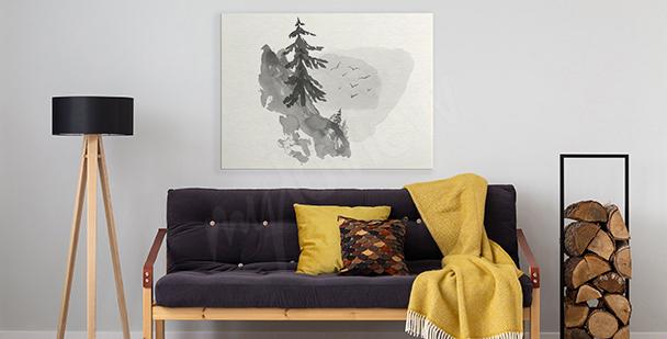 Cuadro minimalista con bosque