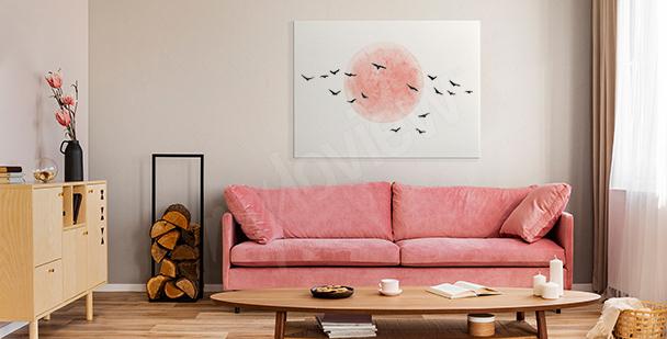 Cuadro minimalista con pájaros