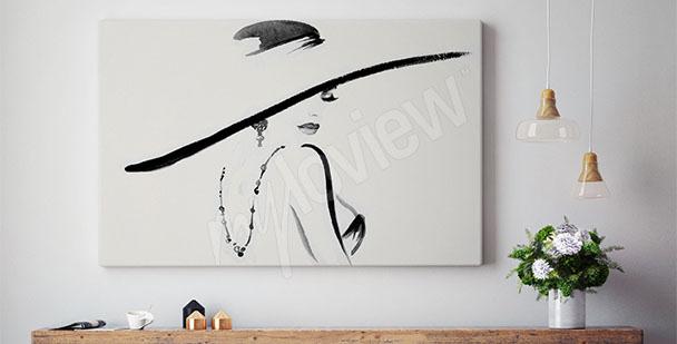 Cuadro mujer con sombrero