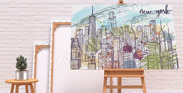 Cuadro Nueva York: dibujo
