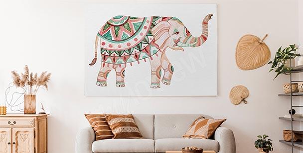 Cuadro ornamento y elefante