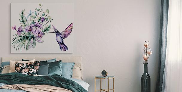 Cuadro orquídea y colibrí