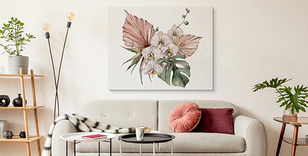 Cuadro orquídea y monstera