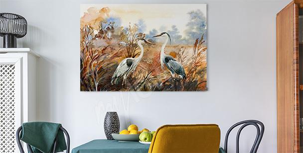 Cuadro otoñal con pájaros