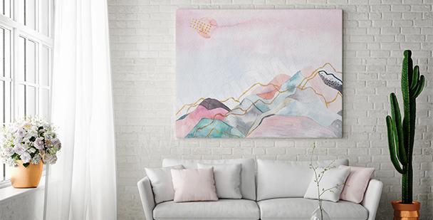 Cuadro paisaje con pinturas pastel
