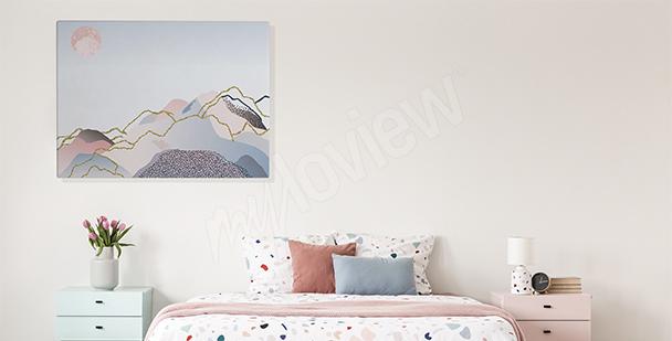 Cuadro paisaje pastel para dormitorio