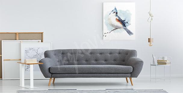 Cuadro pájaro azul