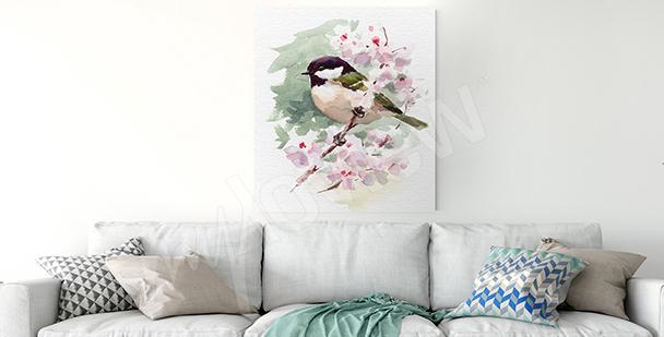 Cuadro pájaro en una rama