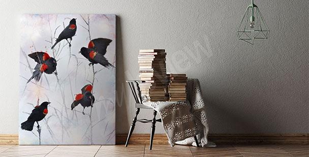 Cuadro pájaros para la sala de estar