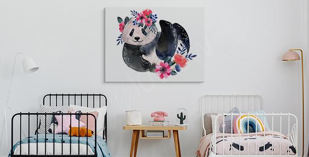 Cuadro panda con vegetación