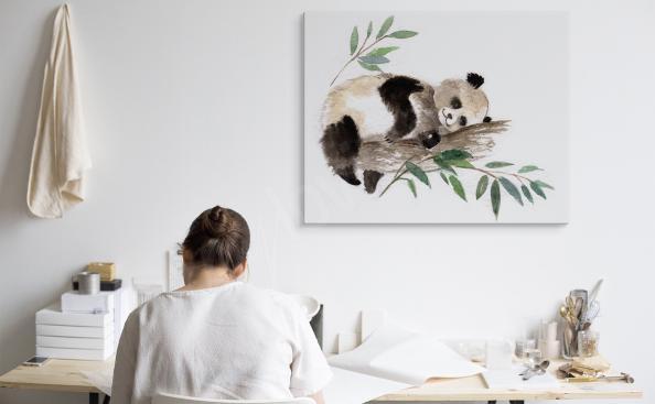 Cuadro panda durmiendo en un árbol