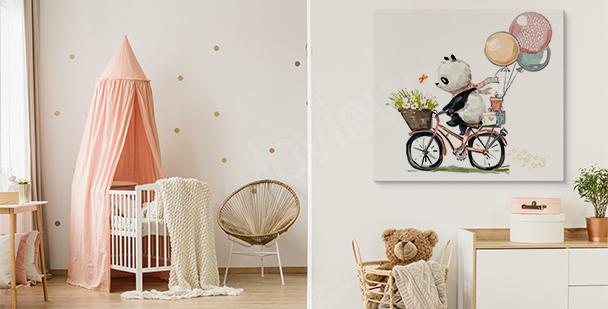 Cuadro panda en bicicleta
