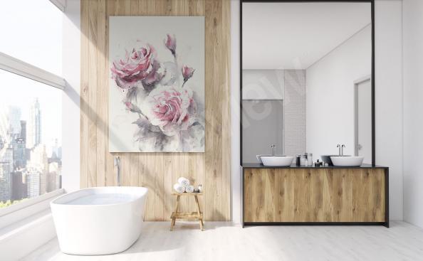 Cuadro para baño rosas