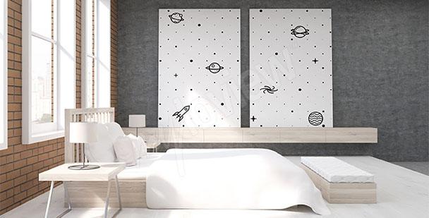 Cuadro para dormitorio blanco y negro