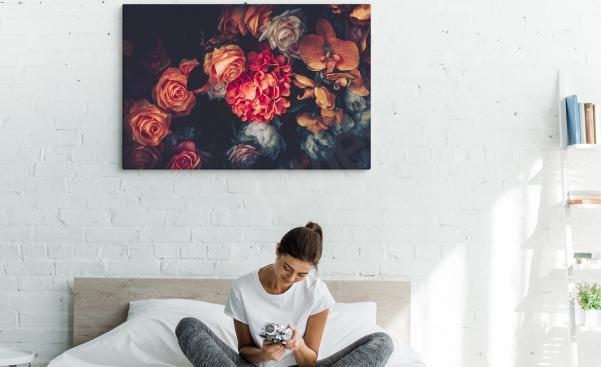 Cuadro para dormitorio con flores vintage