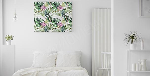 Cuadro para dormitorio flores y hojas