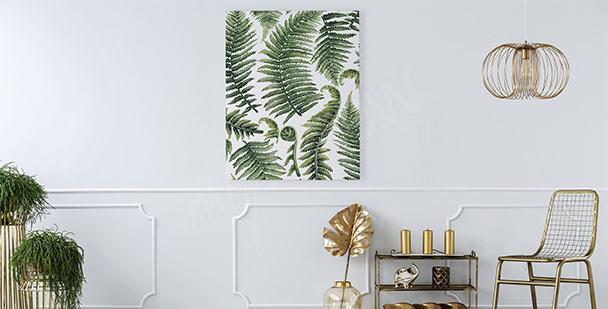 Cuadro para salón hojas de helechos