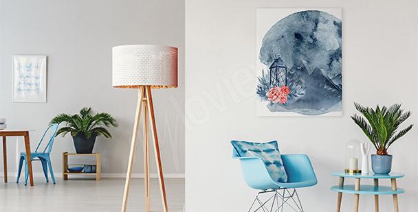 Cuadro para salón luna abstracta