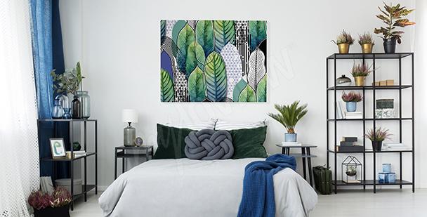 Cuadro para un dormitorio con hojas