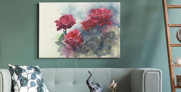 Cuadro Pastel con Rosas