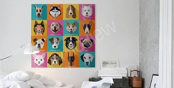 Cuadro perros estilo pop art