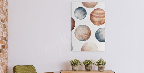 Cuadro planetas en acuarela