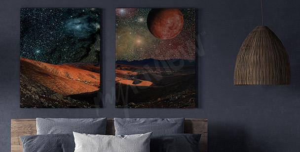Cuadro planetas y montañas