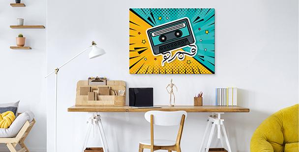 Cuadro pop art con cassette