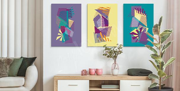 Cuadro pop art con motivos geométricos