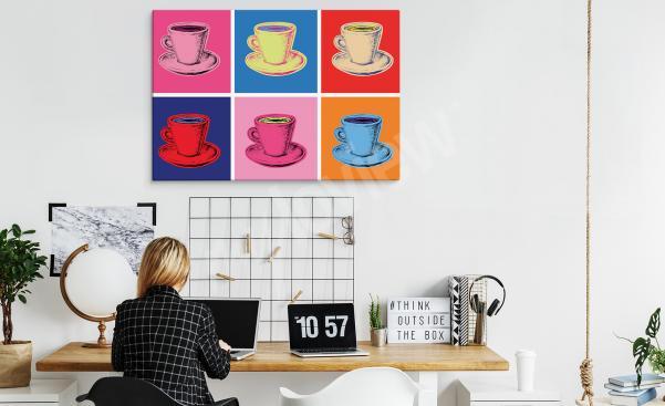 Cuadro pop art con tazas para oficina