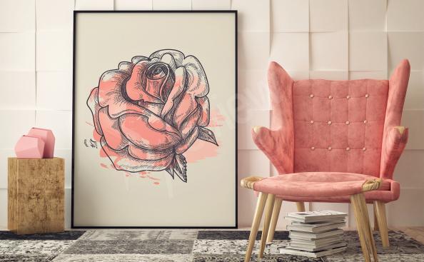 Cuadro rosa dibujo artístico