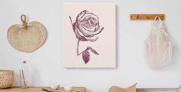 Cuadro rosas dibujadas