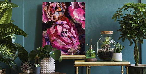 Cuadro rosas pintadas sobre un fondo oscuro