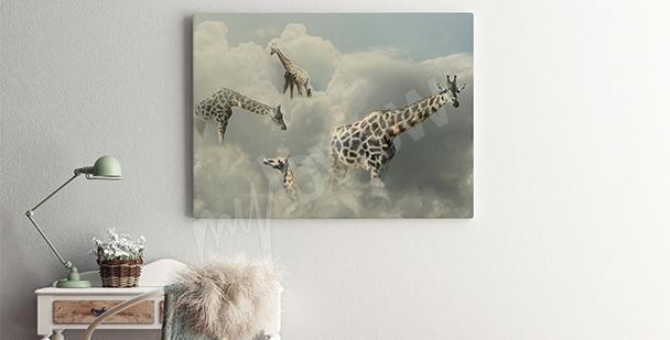 Cuadro surrealismo jirafa en las nubes