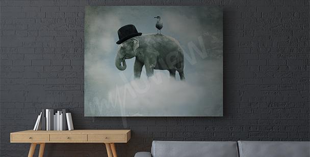 Cuadro surrealista elefante