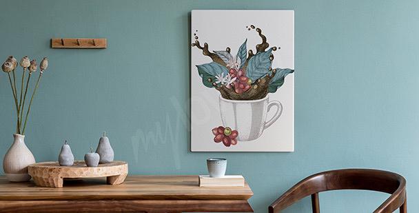 Cuadro taza con hojas