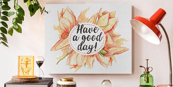 Cuadro tipografía y flores