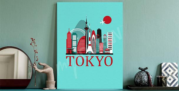 Cuadro Tokio y panorama de la ciudad