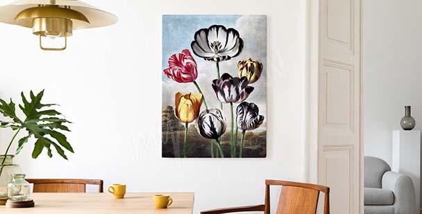 Cuadro tulipanes con el fondo del cielo