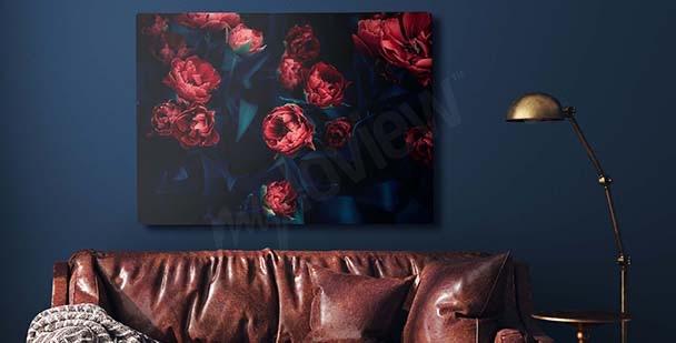 Cuadro tulipanes rojos en la oscuridad
