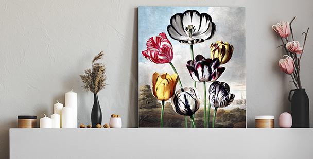 Cuadro vintage con tulipanes