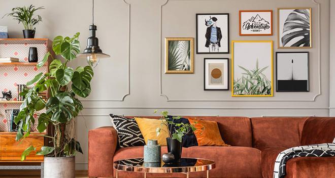 Pared sobre el sofá - ¿cómo decorarla? ¡Mira 4 ideas de Myloview!