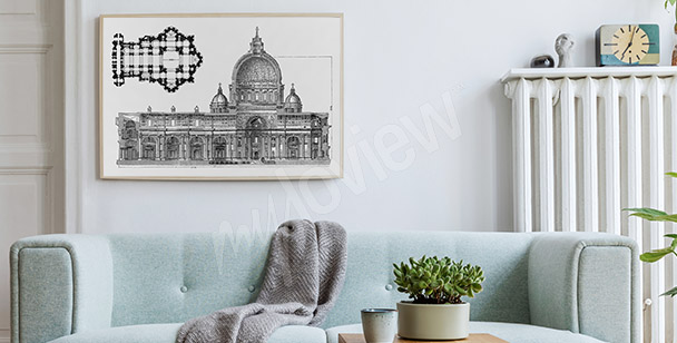 Dibujo póster arquitectura romana