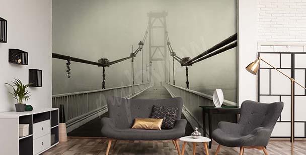 Fotomural 3D puente en la niebla