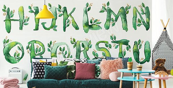 Fotomural alfabeto con hojas