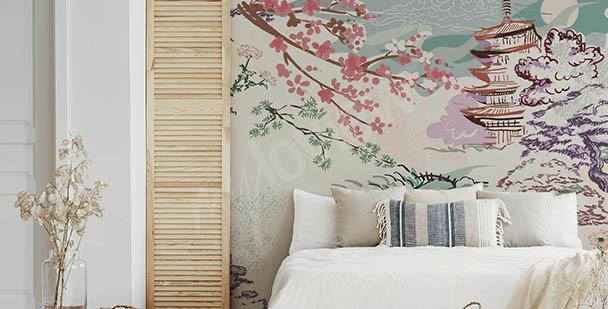 Fotomural Asia y flores de cerezo
